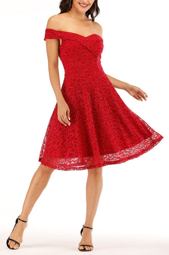 Red Off-shoulder Lace Dress