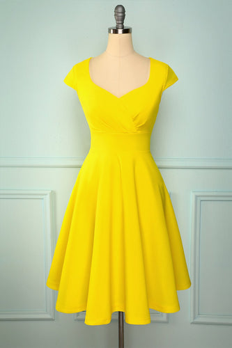 Yellow Solid Hoco Dress