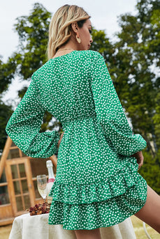 Green Polka Dots Short Boho Dress