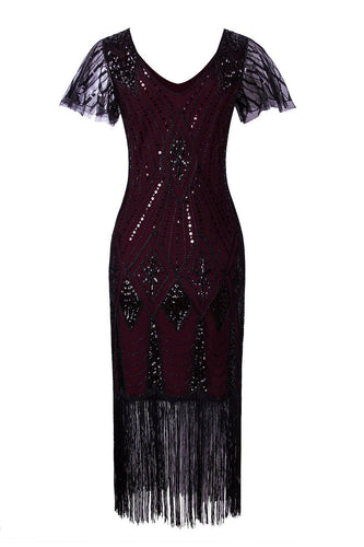 Burgundy Flapper 1920s Sequins Dress
