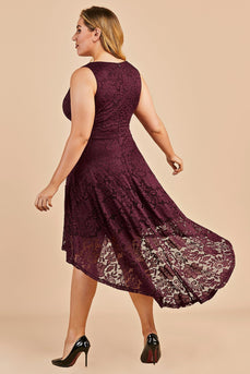 High low Burgundy Lace Plus Size Dress