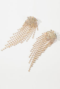 Gold Rhinestone Drop Earrings