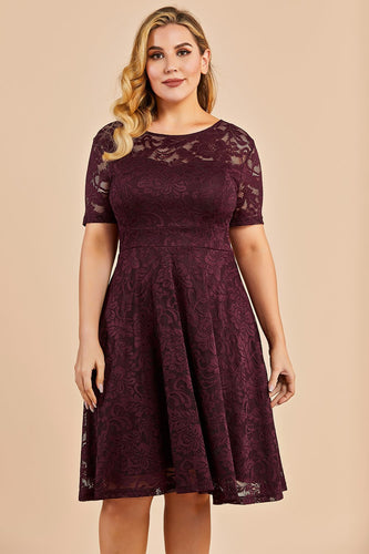 Burgundy Bridesmaid Plus Size Lace Dress