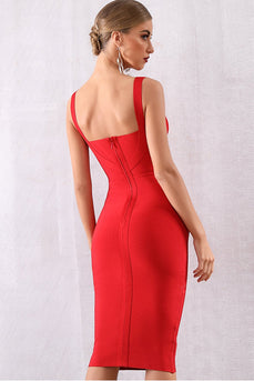 Red Cocktail Party Bodycon Dress
