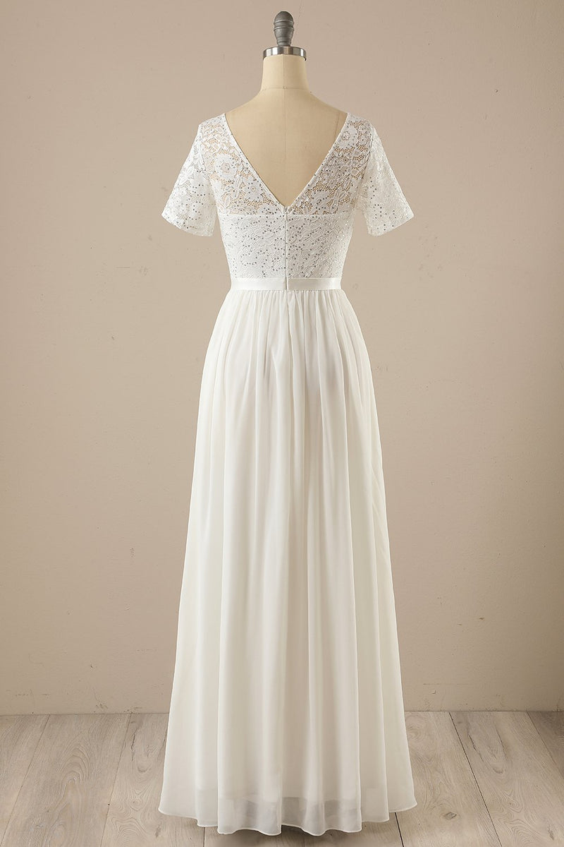 Load image into Gallery viewer, White Sequins Lace Chiffon Dress