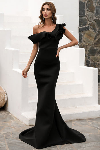 One Shoulder Mermaid Black Prom Dress