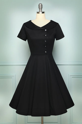 Black Button Dress - ZAPAKA