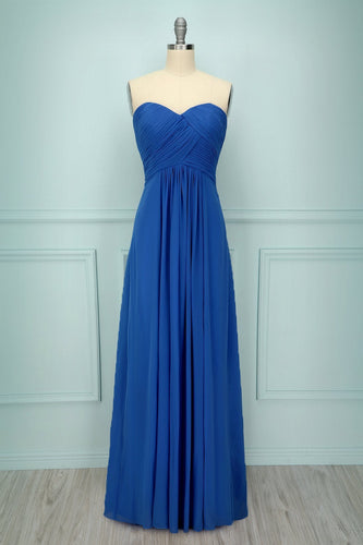 Blue Ruffle Long Dress - ZAPAKA