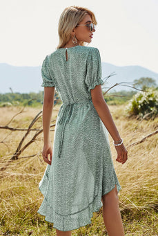 Green Chiffon Print Summer Dress