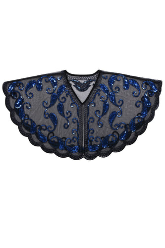 1920s Blue Glitter Sequins Cape