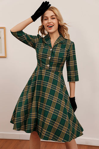 Green Plaid 3/4 Sleeve Dress