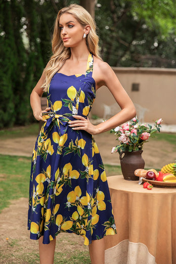 Navy Halter Lemon Pin Up Dress
