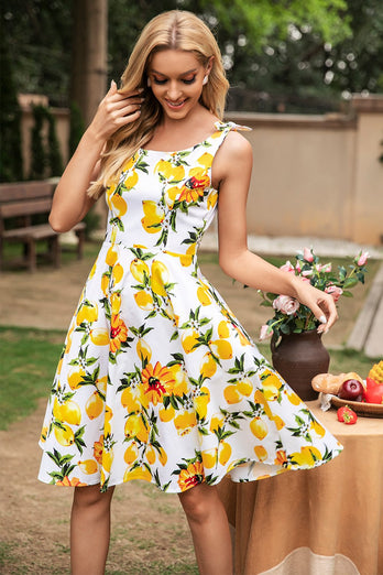 Lemon Vintage Dress With Bows