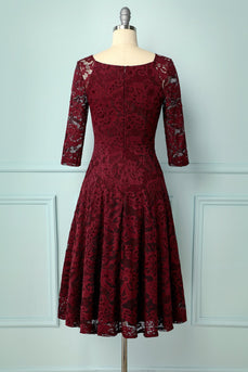 Dark Red Lace Midi - ZAPAKA
