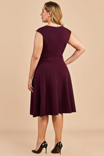 Burgundy Plus Size Homecoming Party Dress