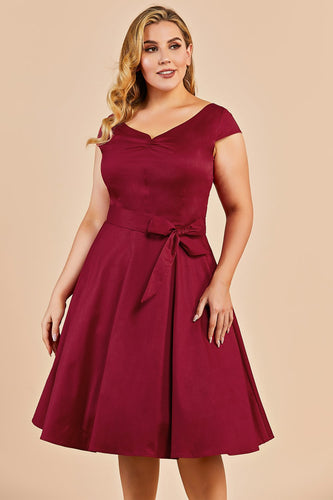 Dark Red Plus Size Swing Dress