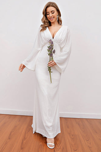 White V Neck Long Party Dress with Open Back