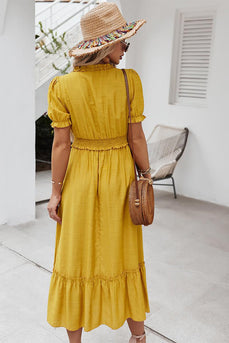 Yellow Maxi V Neck Boho Summer Dress