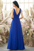 Load image into Gallery viewer, Royal Blue V Neck Bridesmaid Dress