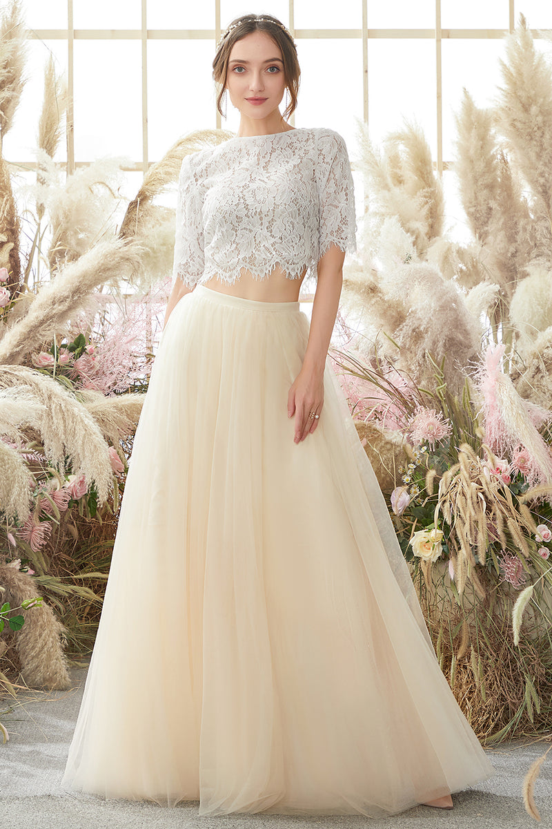Load image into Gallery viewer, Champagne Two-Piece Long Prom Dress