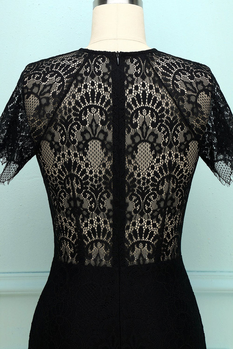 Load image into Gallery viewer, Black Lace Bodycon Dress