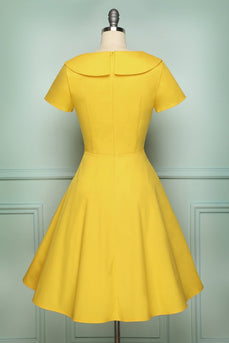Yellow Button Dress - ZAPAKA