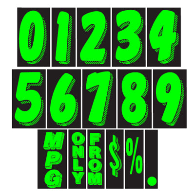 11 1/2 inch Chartreuse Adhesive Number