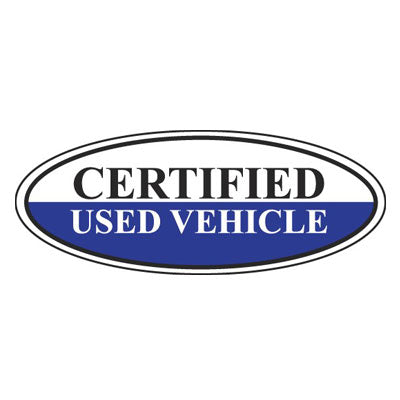 Certified Used Vehicle Oval Sign {EZ196-G}
