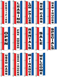 Vertical Slogan Drape Flag - Double Face {EZ359DB}