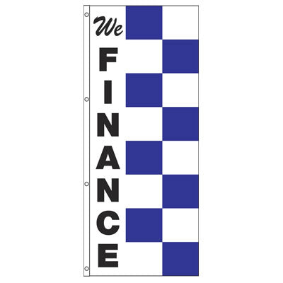Double Face Blue & White Race Style Message Flag{EZ440DB-BW}