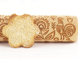 Rolling Pin Embossed with FOLK ROOSTER