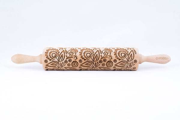 Rolling Pin Embossed with FOLK FLORAL