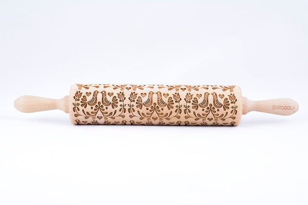 Rolling Pin Embossed with FOLK DOVES Pattern for Baking Engraved Cookies Size Large 16.9 inch