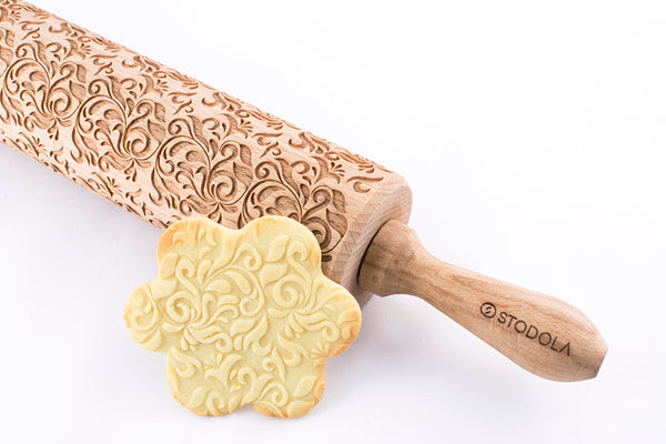 Rolling Pin Embossed with FOLK DECORATIVE