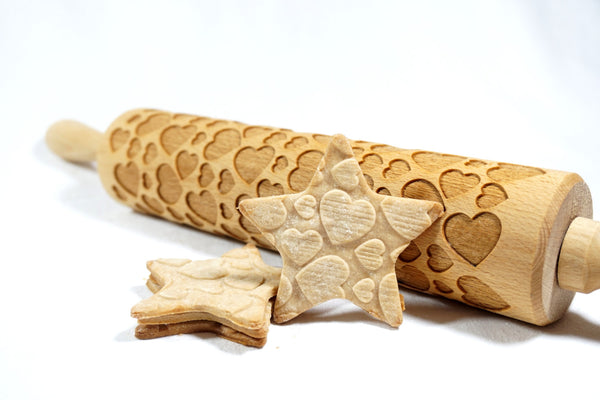 Rolling Pin Embossed with CUTE HEARTS Pattern for Baking Engraved Cookies Size Large 16.9 inch