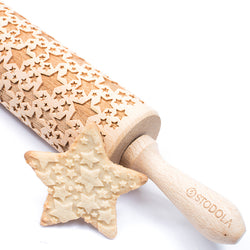Rolling Pin Embossed with CLASSIC STARS Pattern for Baking Engraved Cookies Size Large 16.9 inch