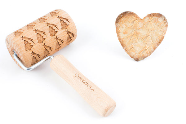 Rolling Pin Embossed With Christmass Tree and Stars