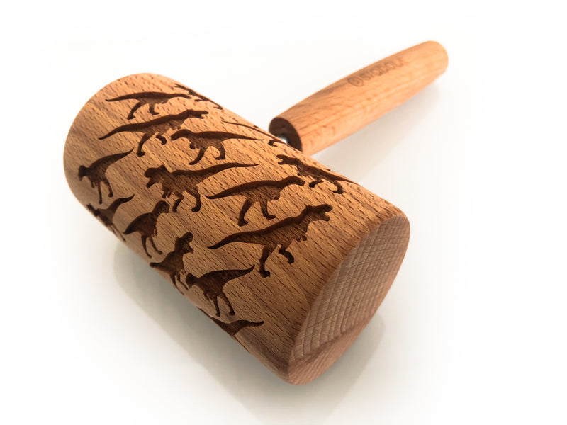 Rolling Pin Embossed With DINOSAUR Pattern For Baking Engraved cookies Size Roller 4 inch