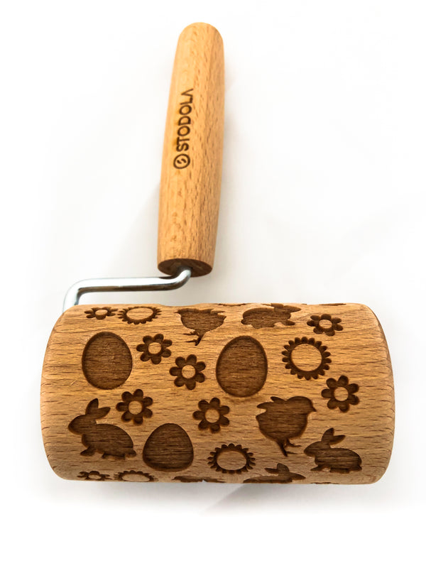 Rolling Pin Embossed With EASTER MIX OF BUNNIES EGGS CHICKS AND FLOWERS Pattern For Baking Engraved cookies Size Roller 4 inch