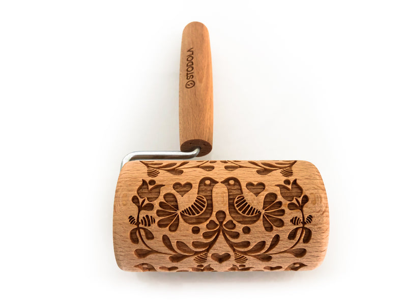 Rolling Pin Embossed With FOLK DOVES Pattern For Baking Engraved cookies Size Roller 4 inch