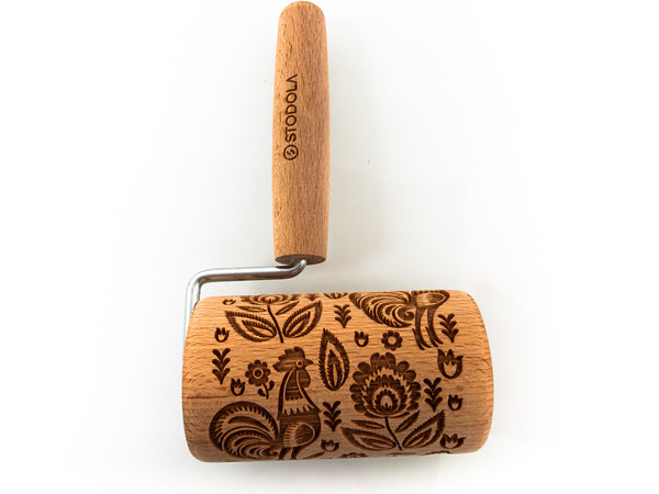 Rolling Pin Embossed With FOLK ROOSTER Pattern For Baking Engraved cookies Size Roller 4 inch