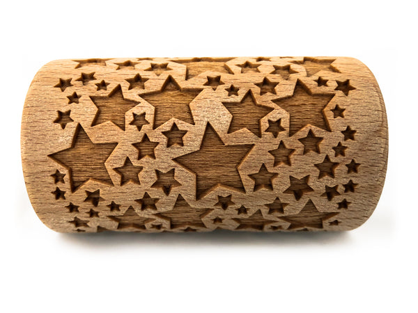 Rolling Pin Embossed With CLASSIC STARS Pattern For Baking Engraved cookies Size Roller 4 inch