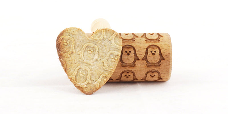 Rolling Pin Embossed With PENGUINS Pattern For Baking Engraved cookies Size Roller 4 inch