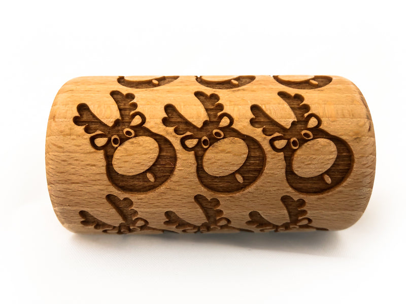 Rolling Pin Embossed With REINDEER AND SNOWFLAKES Christmas Pattern For Engraved cookies Roller 4 in