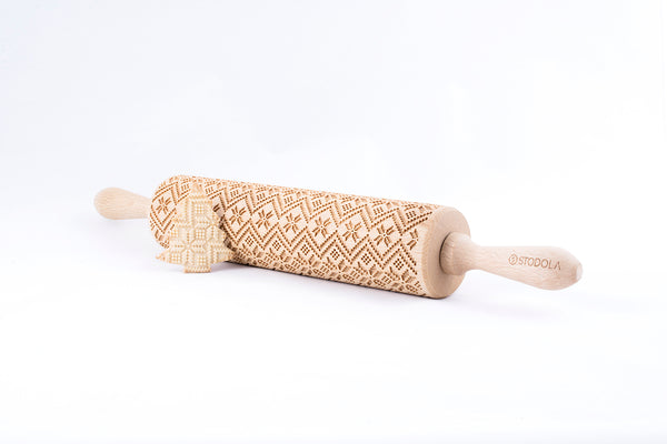 Rolling Pin Embossed with SCANDINAVIAN Pattern for Baking Engraved Cookies Size Large 16.9 inch