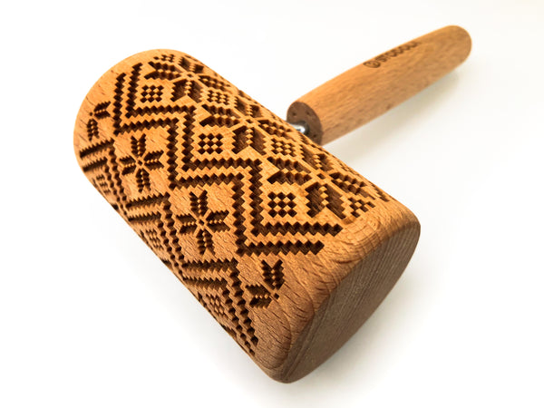 Rolling Pin Embossed With SCANDINAVIAN Themed Pattern For Baking Engraved cookies Size Roller 4 inch