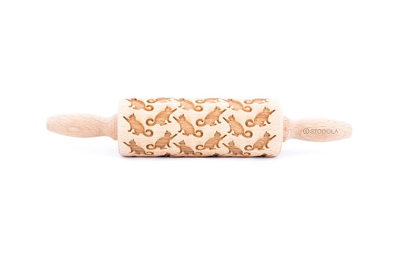 Rolling Pin Embossed With PLAYING CATS