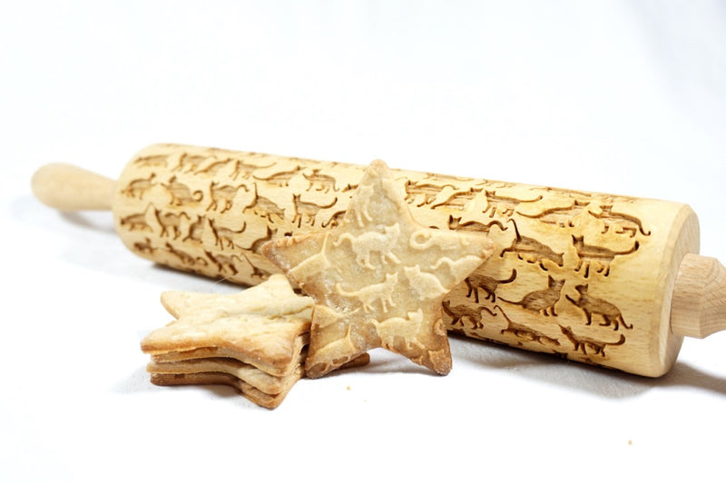 Rolling Pin Embossed with BEAUTIFUL CATS Pattern for Baking Engraved Cookies Size Large 16.9 inch