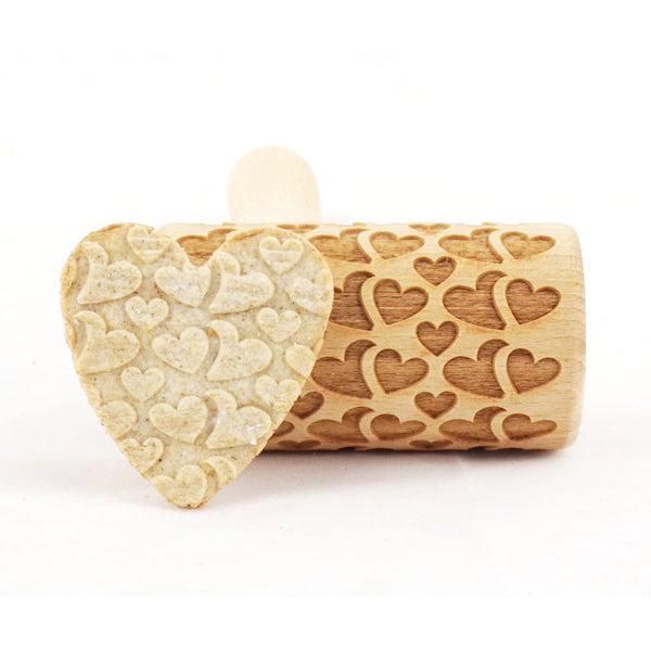 Rolling Pin Embossed With DOUBLE HEARTS