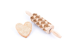 Rolling Pin Embossed With ELEPHANTS Pattern For Baking Engraved cookies Size Junior 9 inch